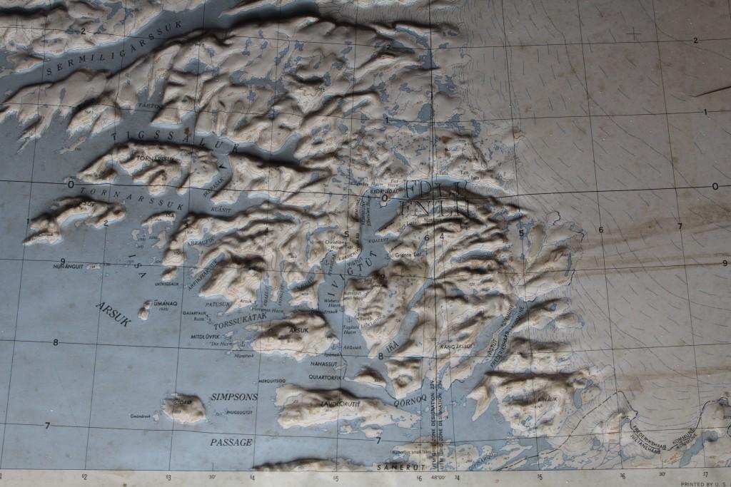 Reliefkort over Ivigtut, Greenland.