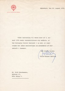 Final letter of 23. august 1976 to me from the Danish Prime Minister Anker as answer to my letter of 3. august 1976.Jørgensen
