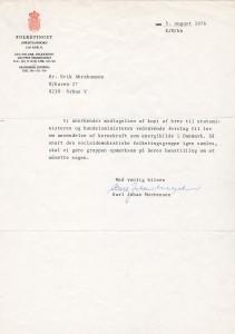 Brev af 5. august 1976 fra den socialdemokratiske folketingsgruppes sekretariat.