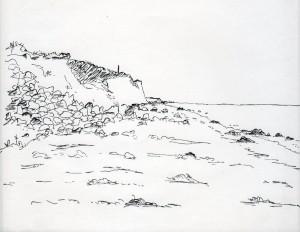 Samsø, Danmark. Stranden nord for Koldby Kaas. Tegning, 24 x 17 cm. Tegnet den 24. maj 1969 af Erik K Abrahamsen.