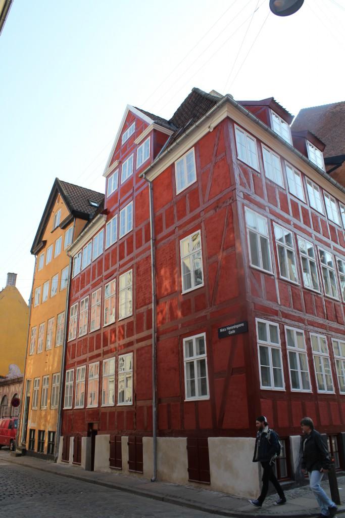 Bindingsværbygning på hjørnet af Skindergade og Niels Hemmingsgade. Foto den 16. marts 2015 af Erik K Abrahamsen
