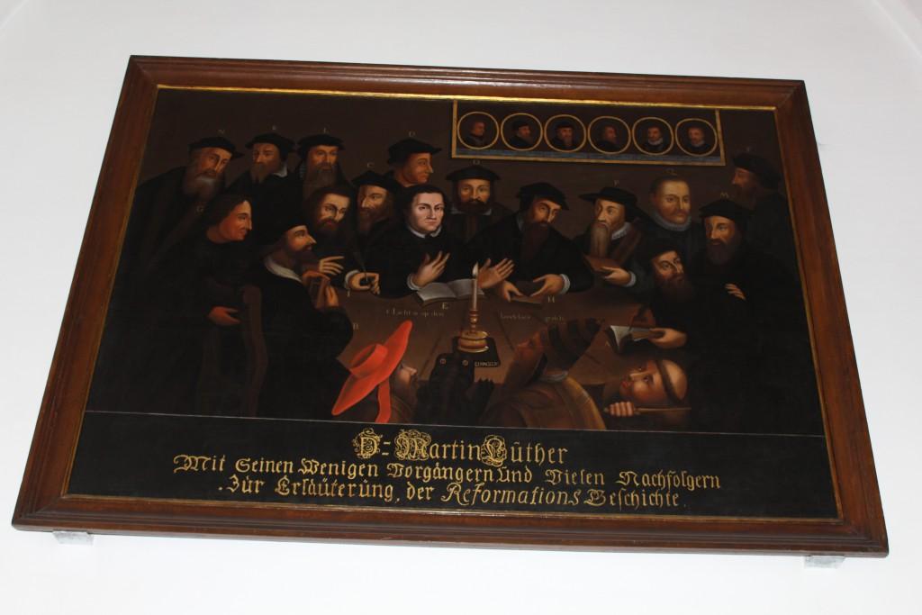 Maleri. Tema. Reformatioen i Europa med det leden mænd i perioden 1500-1550. Foto marts 2015 af Erik K Abrahamsen