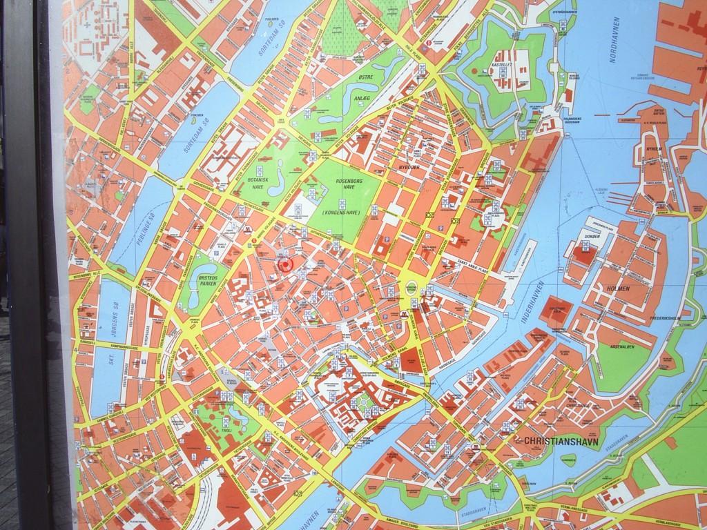 Kort over København City med søeren, parker og Købvenhavns Havneløb. Foto 2012 af erik K Abrahamsen