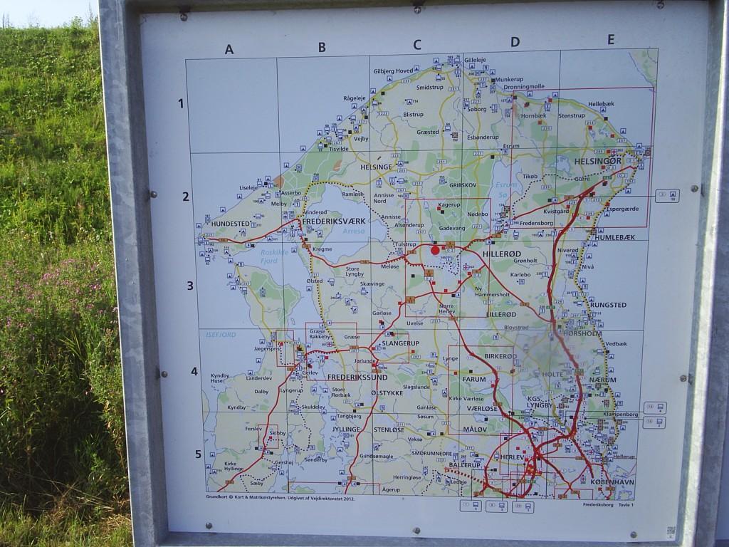 Kort over Nordsjælland, Danmark.