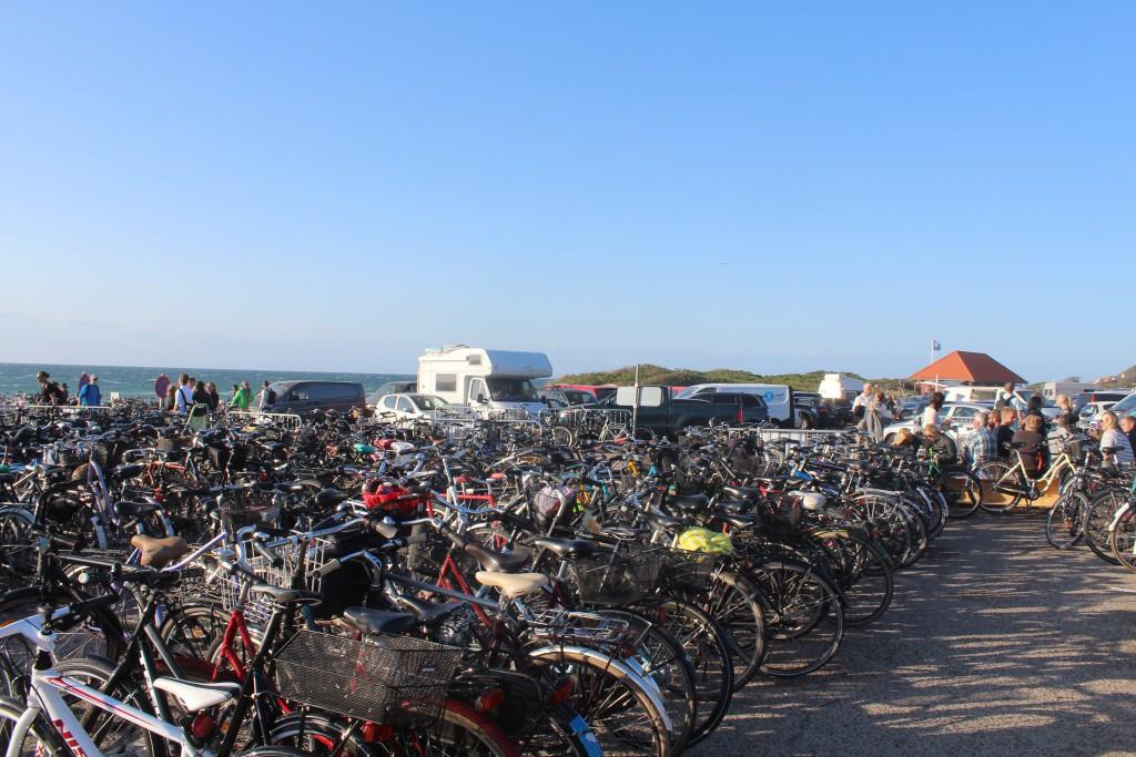 Udsigt over cykler på parkeringspladsen ved isvildele Strand. Foto i retning øst mod Tisvildeleje. den 18. juli mellem kl. 19-20 af Erik K Sbrahamsen
