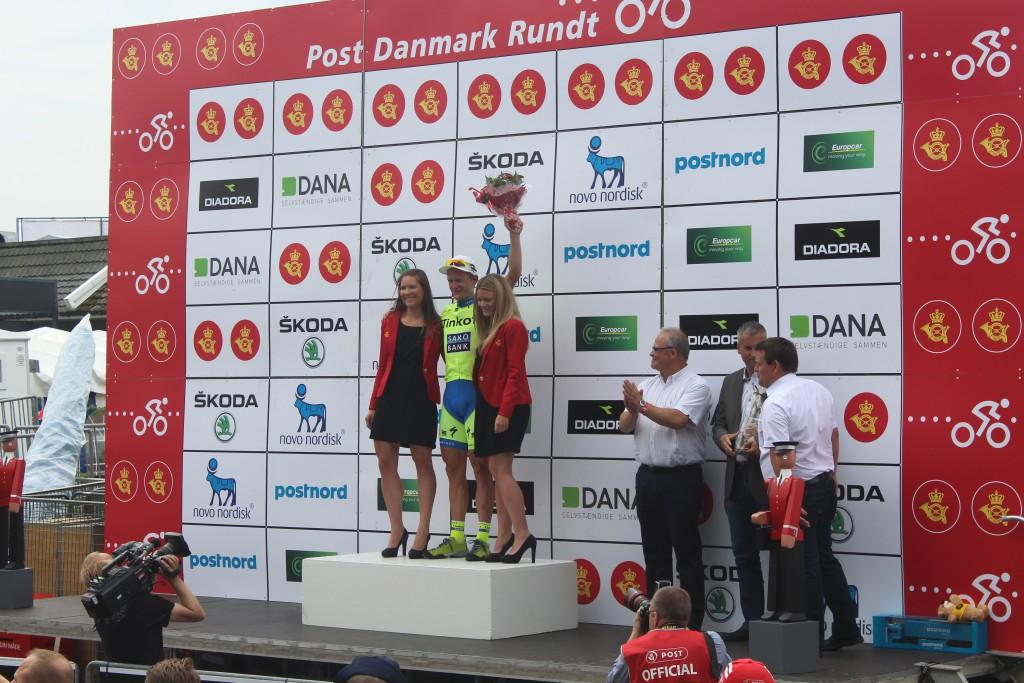 Matti Breschel hyldes som vinder af 4. etape Slagelse- Frederiksværk i Post Danmark Rundt. Foto den 7. august 2015 af Erik K