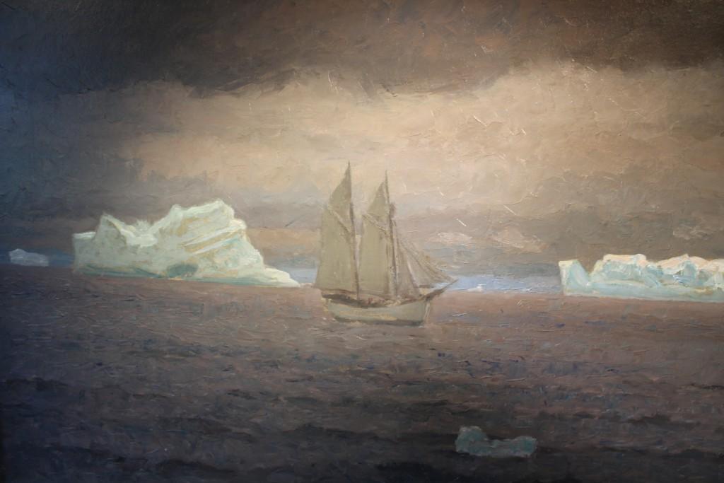 "Maleri af Laurits Tuxen: Knud Rasmussen på vej med Søkongen i Davisstrædet"". 67 x 120 cm. Sign. L. Tuxen 19"