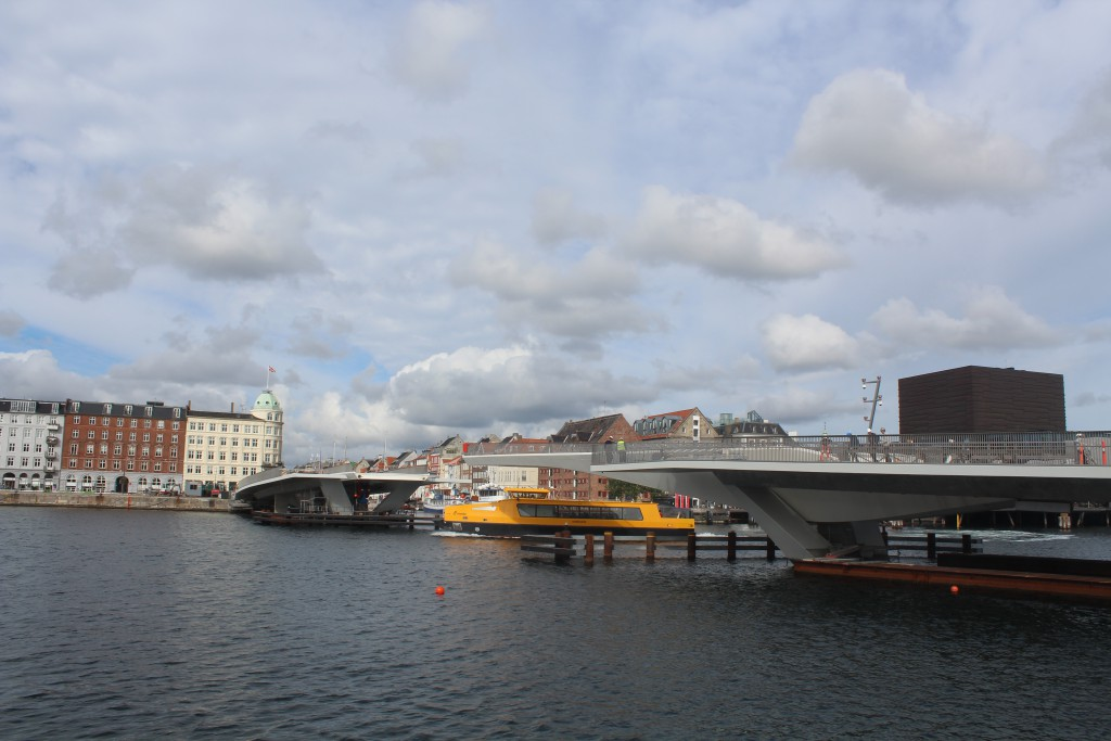 Inderhavsbroen - walk- and bike bridge under construction passing Copenhagen Inner Harbour between