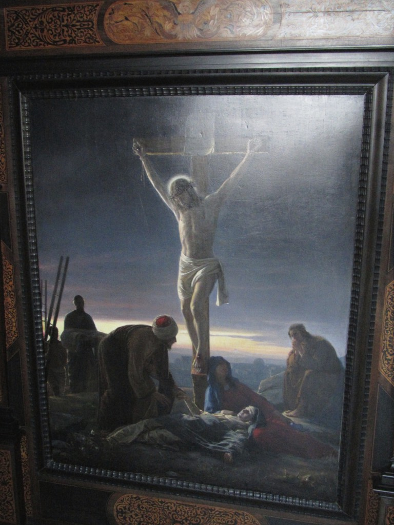 Jesus on calvary Cross in Jerusalem. Painting in Phot