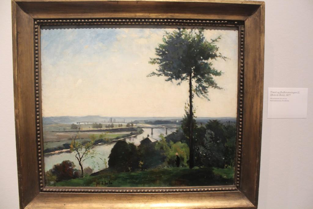 """Carl Fredrik Hill: """"Træet og flodkrumningen,2, (bois-le-Rois), 1877. Olie på lærred, 50 x 60 cm. National useum Stockholm"""