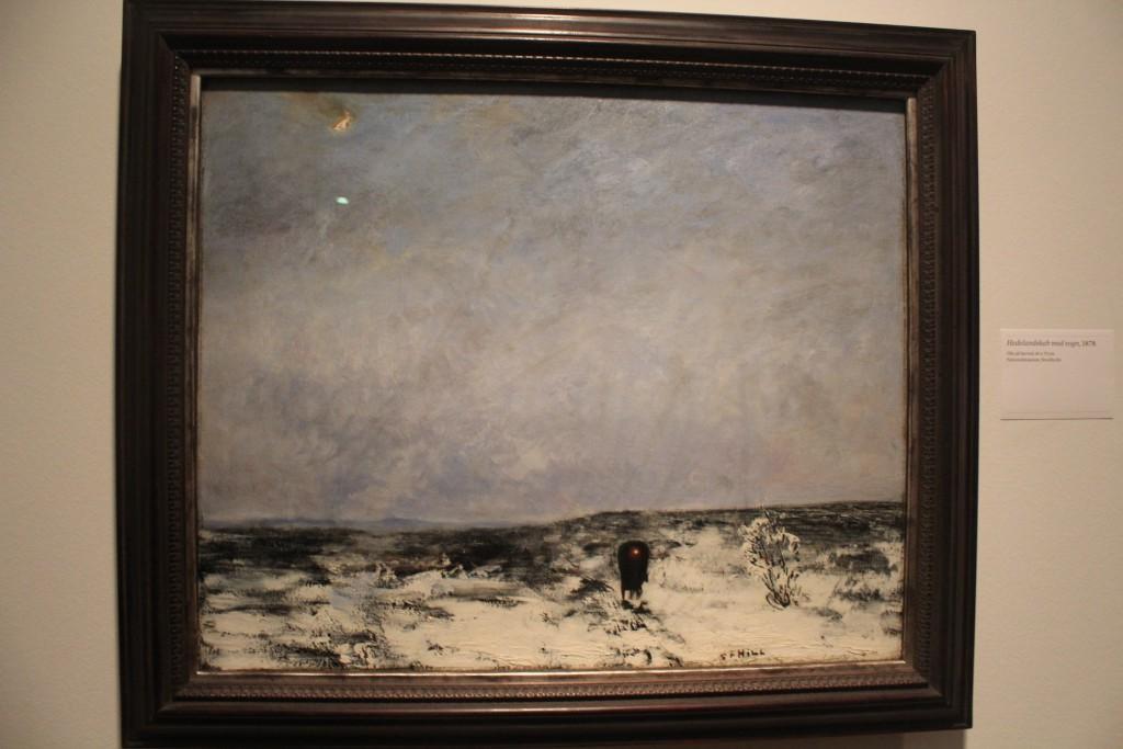 """Carl Fredrik Hill: """"Hedelandskab med vogn, 1878. Olie på lærred, 60 x"""