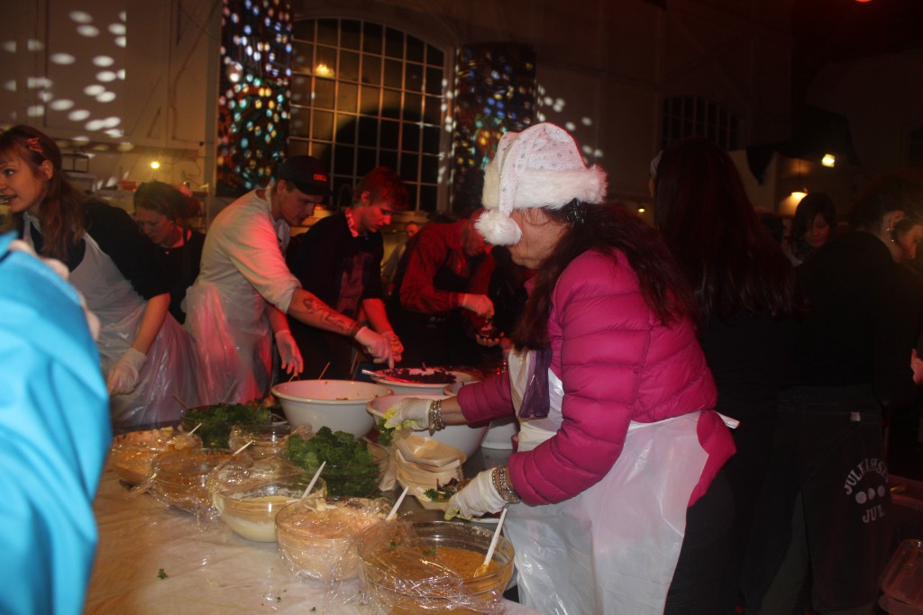 Serving the vegetarian mell at christmas banquet in Grey ha