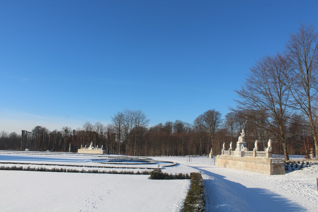 Fredensborg Castle baroque Garden. In front right on phot is Norway monument and left is Denmark Monument celebrating the union since 1380 between Denark and Norway.