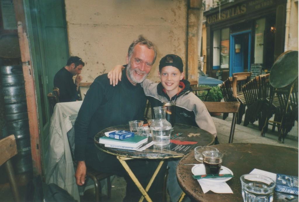 Quartier Latin, Paris. Claus Levy with his son Nicolai. Phor june 2001 by erik K Abrahamsen