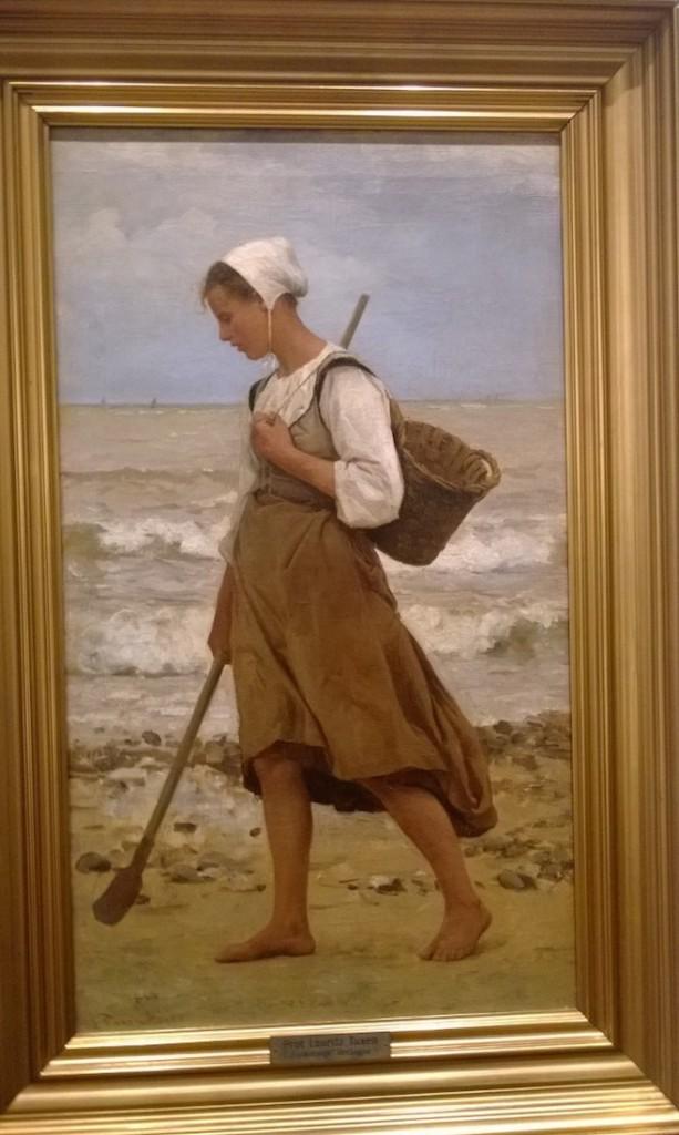 Laurits Tuxen: En fiskers datter på stranden, Bretagne, 1880., Olir på lærred 75 x 43 cm