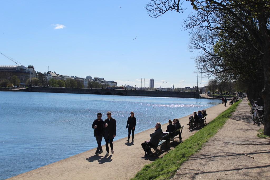 View to Sortedam Lake, Queen Loise Bridge and Copenhagen