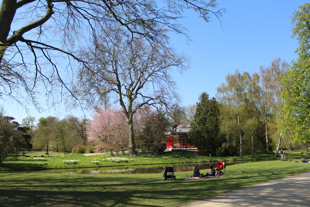 """Frederiksberg Garden. Relaxatin speing 2016 at canals. Photo in direction to """"The Chinese House"""""""