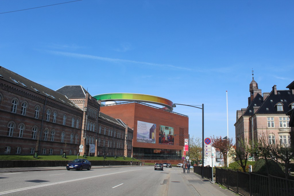 ARoS Artmuseum. View in direction north . At left old barrack and at ri