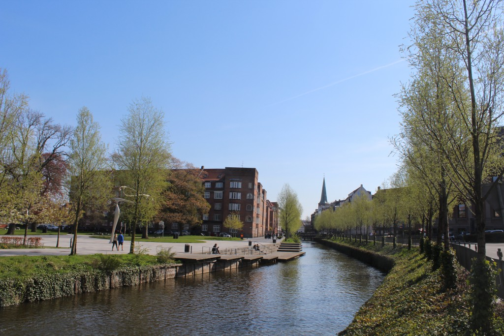 Aarhus River. View in direction to Arhus Cathedral builder 1200 A.C.. View in direction east