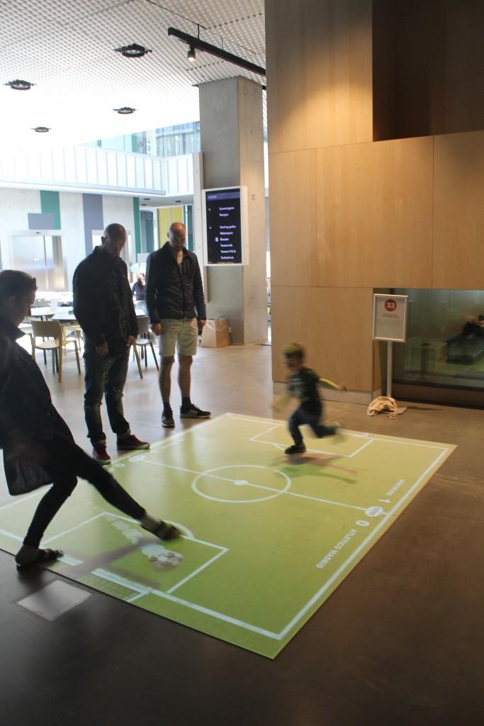 Digital football Play on floor.