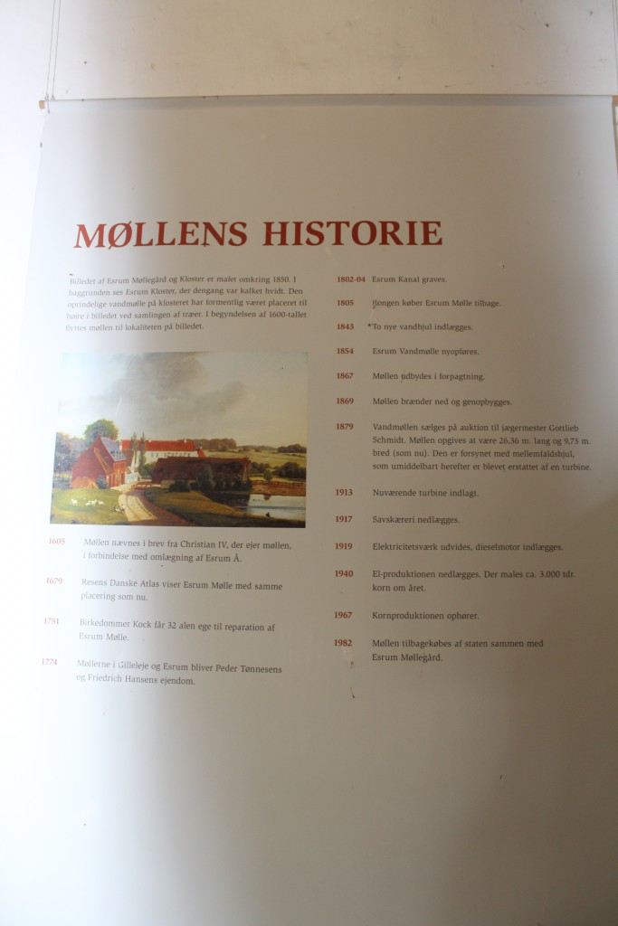 Plate of history of Esrum Mill and farm. Phot in ground floor in