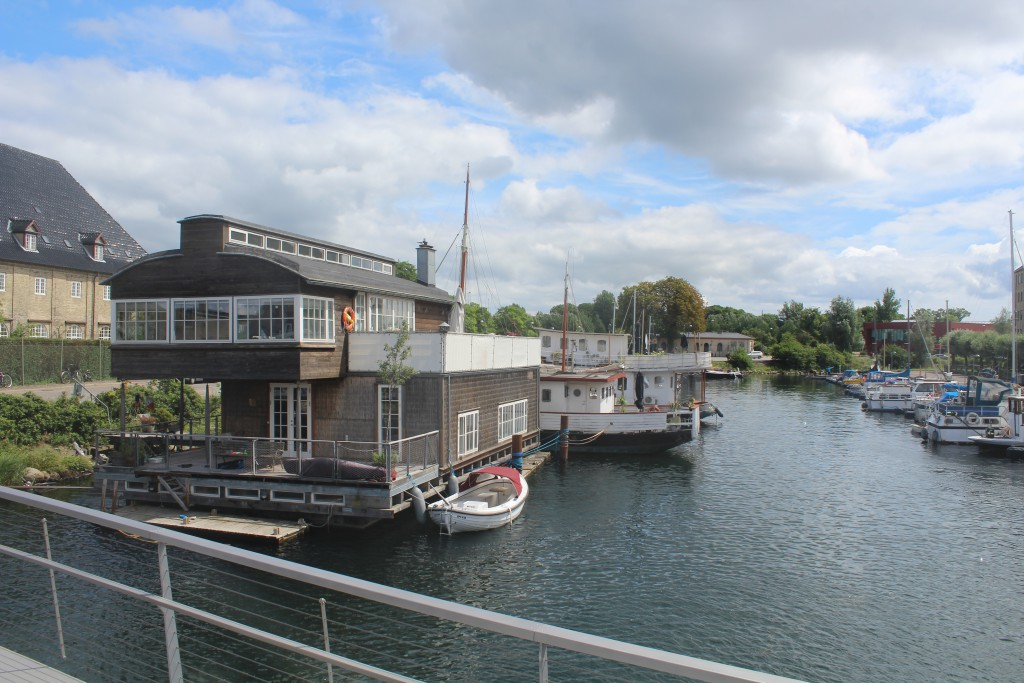 View from Trangravsbroen to House boats in Trangraven Canal. Photo in direction south to Christianshavn and island Arsenaløen at left