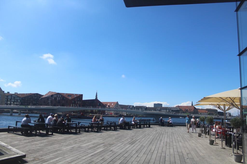 """Copenhagen Inner Harbour. View to new bike- and walk bridge """"Inderhavnsbroen"""" bu"""