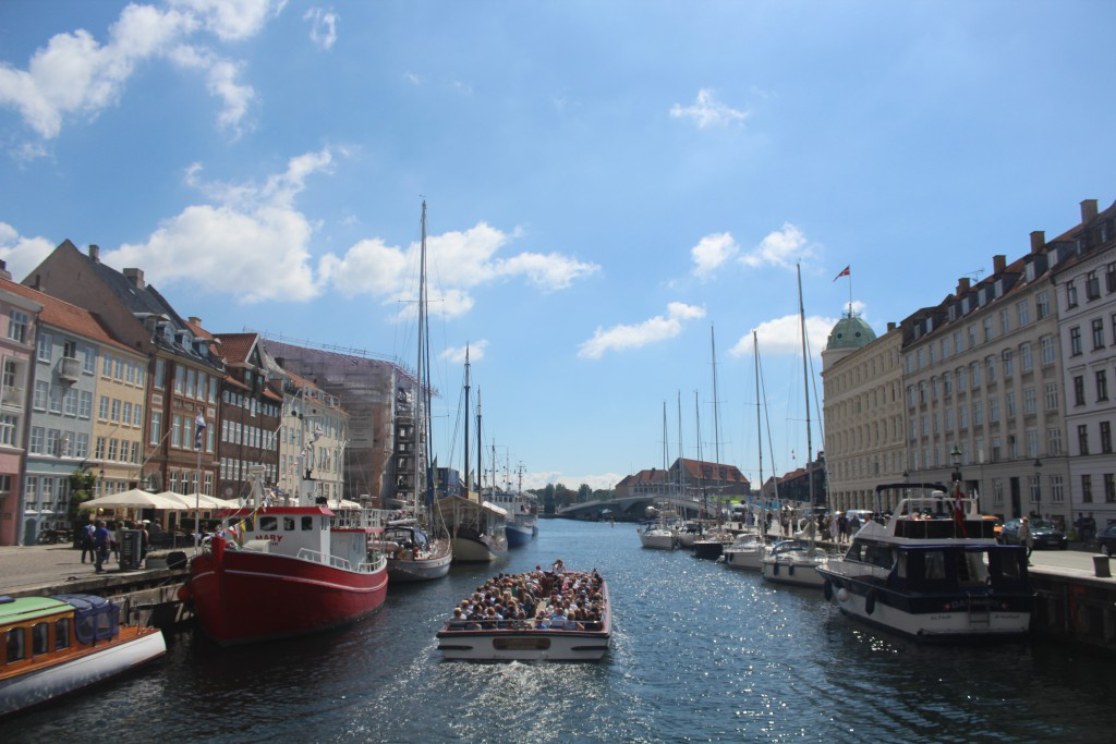 View from Nyhavn to new walk- and bike bridge passing Copenhagebn Inner Harbour. Photo