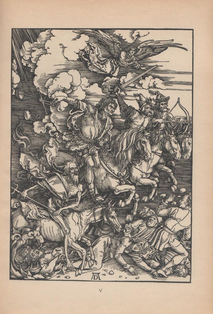 Yræsnit af Albrecht Durer. Bild V: Die vier apolyptischen Reiter. 1498. Kap. 6,2-8. Skannet fra bog: Die Offenbarung Sankt Johannis mit den 16 holtzchnitten von Albrecht Durer. Im Furche-Verlag/Berlin (1918/19.