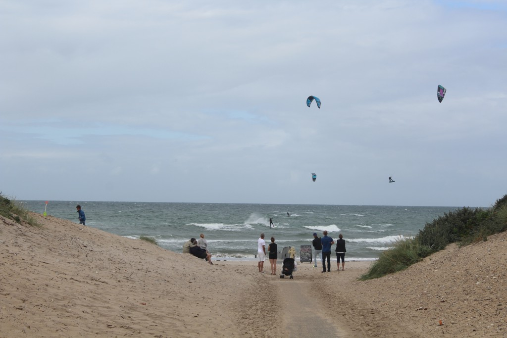 Liseleje Beach, North Sealand, Denmark. Kitesurfing in Kattegat Sea. Photo in direction north 8. august 2016 by Erik K Abrahamm¨sen.