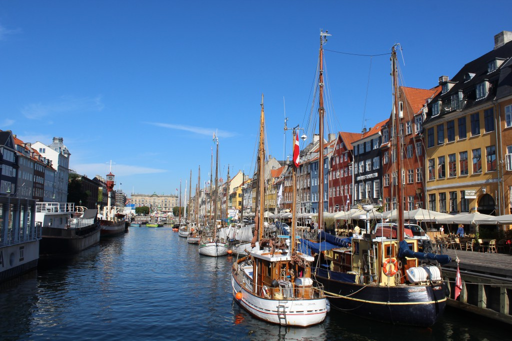 Nyhavn built as a canal 400 m long and 15 m widefrom Copenhagen Inner Harbour to center of Copenhagen for commercial ships