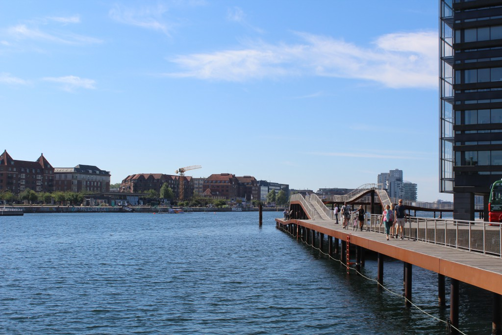 "Kalvebod brygge. View to ""Kalvebod Wave"" at right and Copenhagen Inner Harbour at left Islands Brygge"