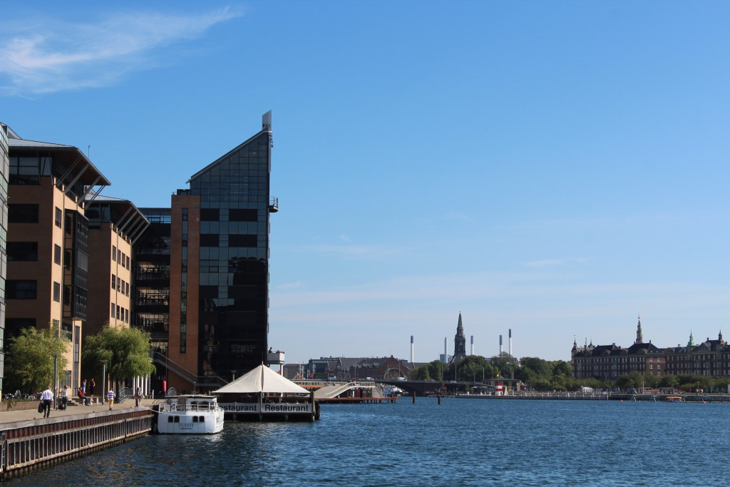 View to Copenhagen Inner Harbour at Kalvebod Brygge, bridge Langebro and Islands brygge on island Amager. Phoot in direction east 25. august 2016 by Erik K Abrahamsen.
