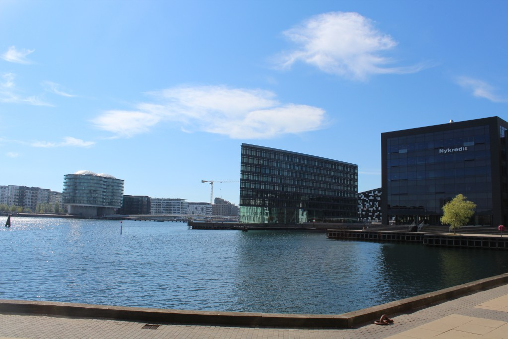 "View to Havneholmen, Nykredit Domicile, Alle Domicile, bike-walk and run brideke ""Bryggebroen"" passing Copen hagen Inner Harbour north/south between havneholmen and Islands brygge on"