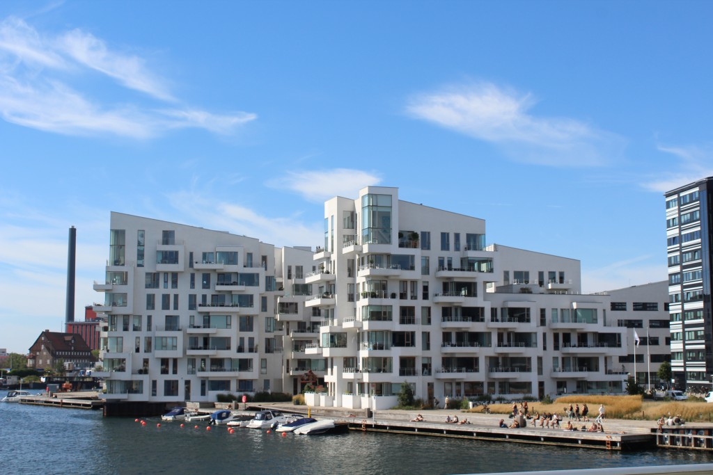 "Private residencies ""Havneholmen"" on Havneholmen on north side of Copenhagen Unner Harbour. Photo from top af bike-, walk and r"