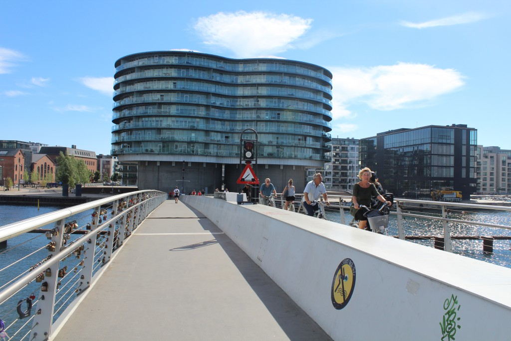 "On top of bike-, walk and run bridge ""Bryggebroen"" passing Copenhagen Inner Harbour from Havneholmen"