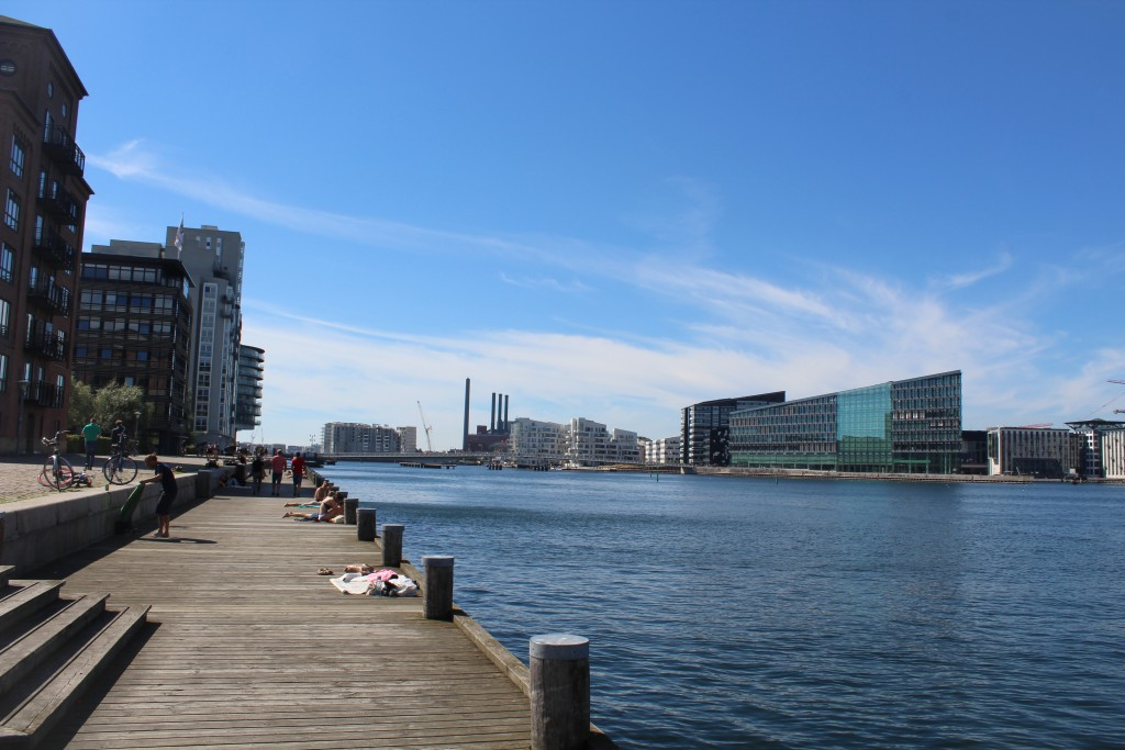 Island Brygge on island Amager. Vue in direction west to Copenhagen Inner