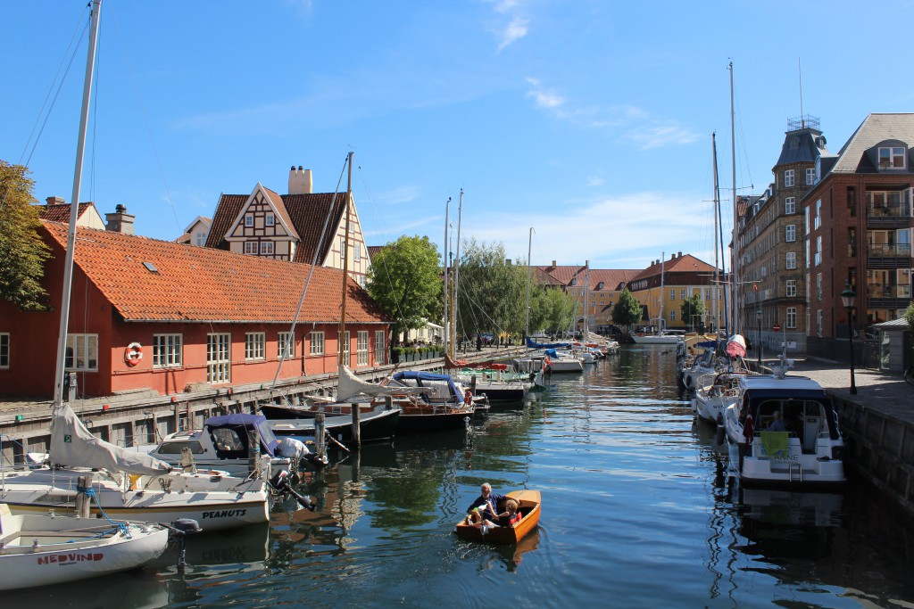 Christianshavn Canal at north side of Copenhagen InnerHarbour. View from bridge of Strandgade to Sej lhuset and Søkvæsthuset