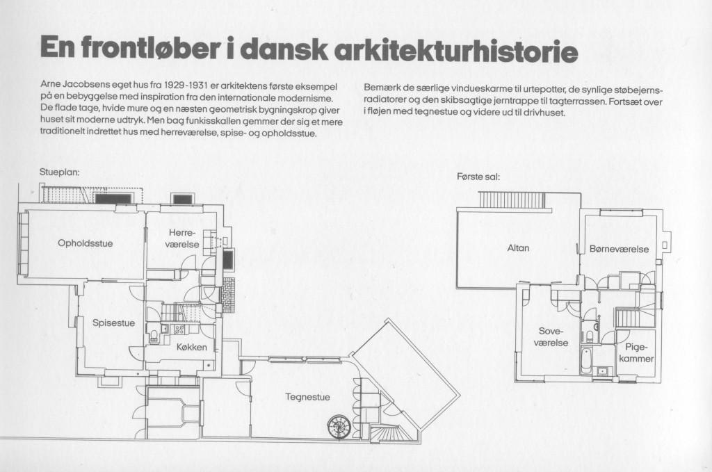 Oversigtstegning af arkitekt Ane Jakobsen private bolig i Chsrlotten ca. 10 km nord for