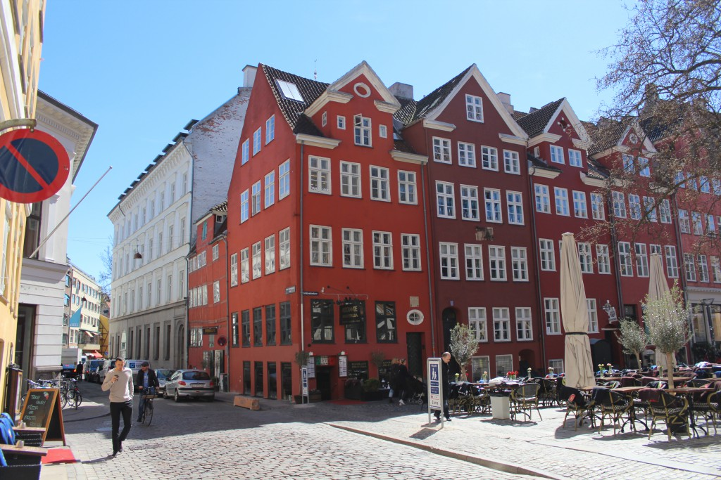 Gråbrødre Torv founded as a monastery of franciskan monks from 1238 until 1530. View to 5 red houses built around 1730 after the big fire 1728 which destroyed 1670 houses in Copenhagen