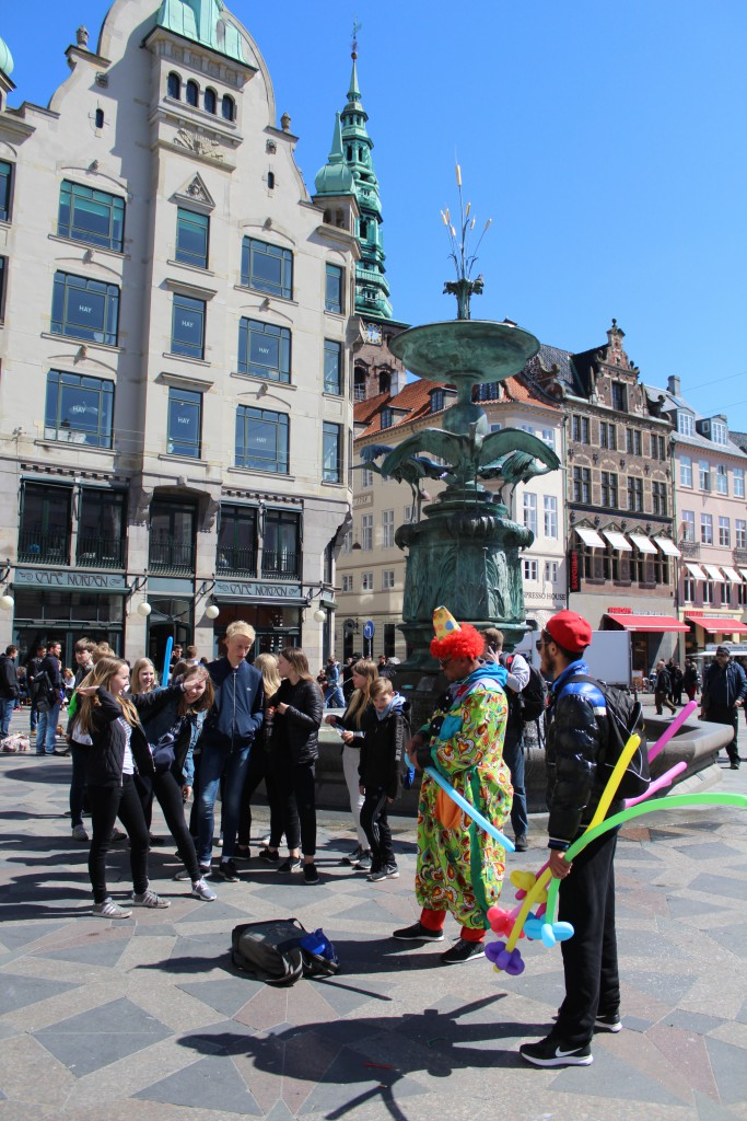 "Amager Torv. Fun and joy at the fountain ""Storkespringvandet""."