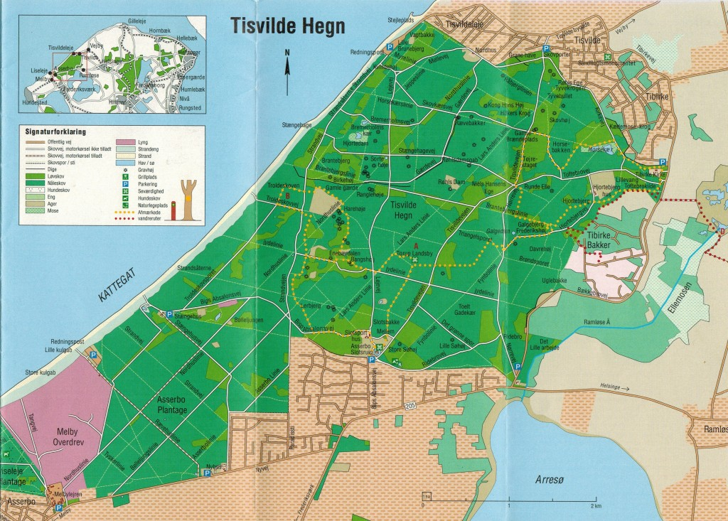 Kort over Tisvilde Hegn
