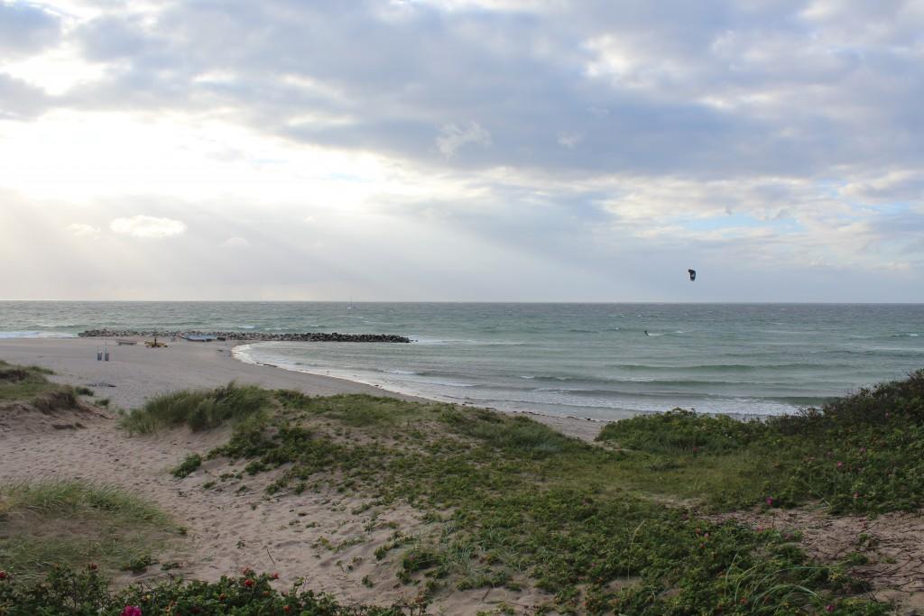Liseleje beach. View in direction west to breakwater of big granite stones built 1912