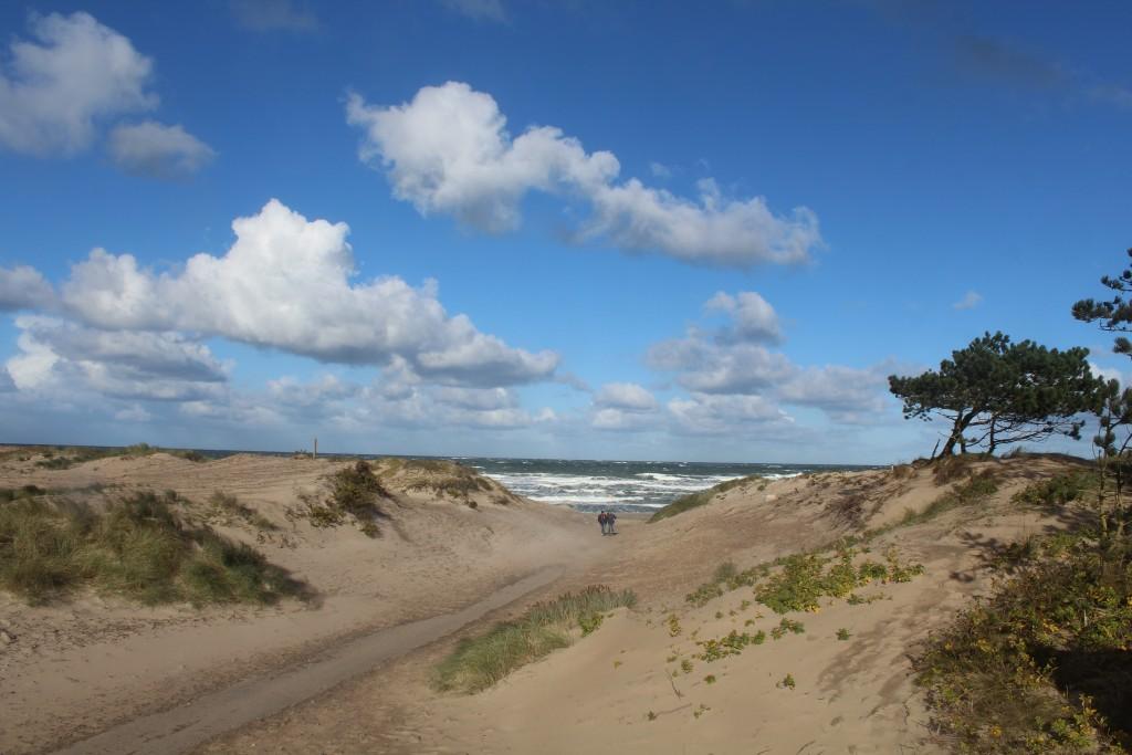Liseleje Strand. Stormen Ingolf blæser en kraftig nordenvind ind på Nordsjællans Kattegat kyst. Foto i retning nord søndag foirniddag den 29. oktober 2017 af Erik K Abrahamsen.