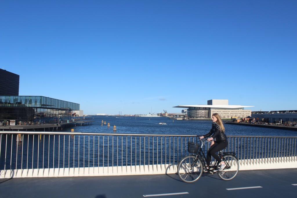Udsigt fra toppen af den 180 m lange Inderhavnsbro ud mod Købehavn Inderhavn. Foto i retning øst den 30. oktober 2017 af Erik K Abrahamsen.