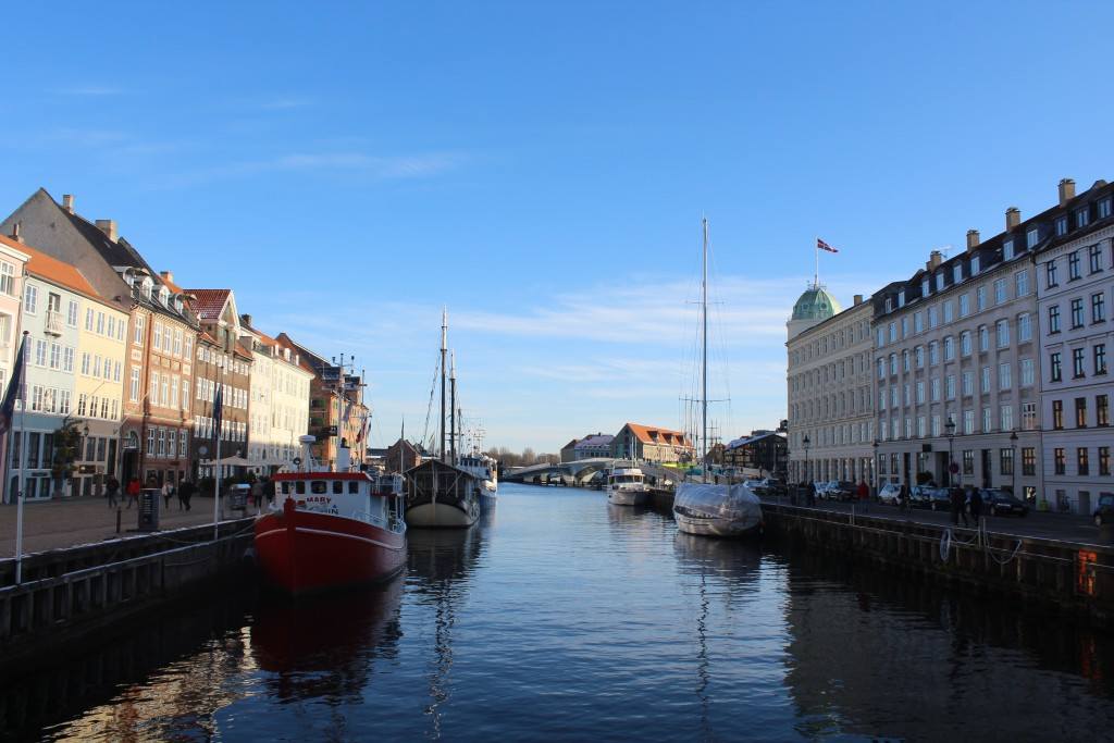 Nyhavn. View in direction south to Copenhagen Inner harbour with new 180 m long bke- and walk slide bridge and storehouses close to wharfs. Phoot 5. february 2018 by Erik K Abrahamsen.