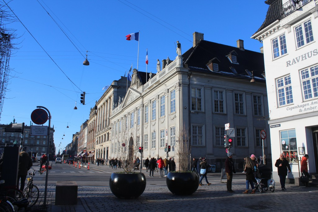 View from nuhavn to main central square Kongens Nytorv with french Embassy - former Thott palace built 1882-84 at right.