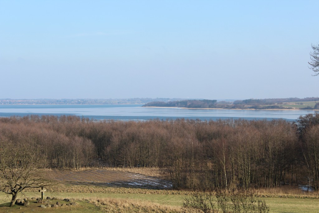 View from Arresødal forest to Arrsø lake and Arrnæs. Phot in direction east 9. february 2018 by Erik K Ari