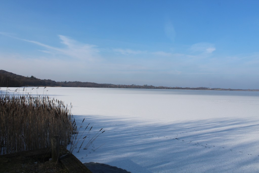 Arreæs Peninsula. View to Arresø lake and Vinderøs Church in the distance. Photo in direction north 9. february 2018 by erik K Abrahamsen.