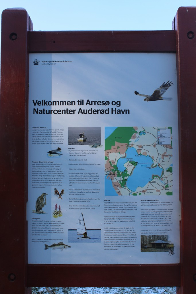 Plate on Nature Center Auderød Harbour. Photo 9. february 2018 by Erik K Abrahamsen.